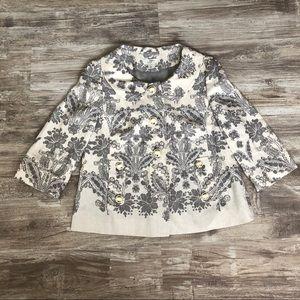 LOFT Ivory & Gray Paisley Silk Light Jacket